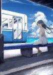 1girl bare_arms bench black_hair blue_sky blush brown_eyes camisole commentary_request crossed_ankles dress from_behind ground_vehicle hair_blowing highres horizon long_hair looking_to_the_side ocean open_mouth original signature sky sleeveless sleeveless_dress solo soragane_(banisinngurei) spaghetti_strap striped_camisole summer sundress train train_station upper_teeth very_long_hair white_dress wind yellow_camisole yellow_footwear