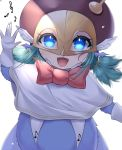 1girl :d aqua_hair bird_legs bow bowtie capelet digimon facial_mark fingernails gloves hand_up heart highres long_fingernails looking_at_viewer low_twintails lury.sgh mask musical_note musical_note_hair_ornament musical_note_print open_mouth red_bow red_headwear seirenmon short_twintails sidelocks simple_background smile solo symbol_commentary twintails upper_body waving white_background white_capelet white_gloves wing_ears x