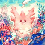 :d black_eyes commentary coral coral_reef corsola english_commentary full_body gen_2_pokemon limestone no_nose ocean open_mouth pokemon pokemon_(game) smile solid_oval_eyes traditional_media underwater watercolor_(medium) yi-wen_leow_(starstray)