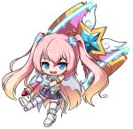 1girl :d angelic_buster bangs bare_shoulders blue_eyes boots brown_hair eyebrows_visible_through_hair fang full_body gloves glowing gradient_hair hair_between_eyes hair_ornament holding holding_hammer long_hair looking_at_viewer maplestory multicolored_hair nekono_rin open_mouth pink_hair pleated_skirt purple_skirt revision shirt skirt sleeveless sleeveless_shirt smile solo star_(symbol) thigh-highs thighhighs_under_boots transparent_background transparent_wings two-handed two_side_up very_long_hair white_footwear white_gloves white_legwear white_shirt