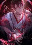 1boy artist_name callarinc chain closed_mouth collarbone commentary_request earrings hair_between_eyes highres holding japanese_clothes jewelry kimono long_fingers long_sleeves looking_at_viewer male_focus onmyoji pointy_ears red_eyes red_theme short_hair slit_pupils smile solo upper_body white_kimono