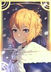 1girl artist_name artoria_pendragon_(all) border braid cape character_name close-up commentary copyright_name cowlick crown_braid ctiahao fate/grand_order fate_(series) fur_trim green_eyes hair_between_eyes highres light_smile looking_at_viewer saber snow solo