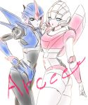 akycoo arcee ass autobot blue_eyes character_name hand_on_hip looking_to_the_side multiple_persona no_humans robot transformers transformers_prime white_background