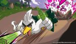 ! absurdres action attack battle bird castle commentary deviantart_username duck english_commentary fangs forest gen_8_pokemon grass harlequinwaffles highres holding_spring_onion impidimp looking_at_viewer nature no_humans open_mouth outdoors pokemon pokemon_(creature) red_eyes road signature sirfetch'd speed_lines spring_onion tongue tongue_out tree watermark web_address