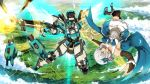 1girl black_choker blue_dress blue_eyes bow bowtie choker clenched_hand detached_sleeves dress energy_shield firing flat_chest floating frilled_choker frills garimpeiro glowing glowing_eyes gun hair_bow highres holding holding_gun holding_weapon looking_to_the_side mecha original robot symbol_commentary thigh-highs upside-down weapon white_hair yellow_eyes zettai_ryouiki