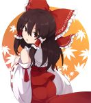 1girl ass bangs bow brown_eyes brown_hair detached_sleeves eyebrows_visible_through_hair from_behind hair_between_eyes hair_bow hair_tubes hakurei_reimu leaf leaf_background long_hair long_sleeves looking_at_viewer looking_back open_mouth red_bow red_skirt ribbon-trimmed_sleeves ribbon_trim rizento sidelocks skirt solo touhou wide_sleeves