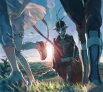1girl 3boys boots cape drawr grass judas_(tales) kyle_dunamis lens_flare loni_dunamis mask multiple_boys nature nishihara_isao out_of_frame outdoors pants reala scenery see-through_silhouette short_hair sun sword tales_of_(series) tales_of_destiny_2 thigh-highs weapon wind wind_lift