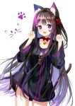 1girl :d animal_ear_fluff animal_ears bangs bell black_dress blush bow breasts brown_hair cat_ears cat_girl cat_tail commentary dress eyebrows_visible_through_hair facial_mark fang hair_bow hands_up heterochromia highres jingle_bell long_hair long_sleeves looking_at_viewer multicolored_hair one_side_up open_mouth original paw_pose pink_hair red_bow seero simple_background small_breasts smile solo star_(symbol) streaked_hair tail very_long_hair violet_eyes white_background wide_sleeves