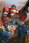 alex_milne autobot blue_eyes clenched_hand collaboration english_commentary espen_grundetjern glowing glowing_eyes gun holding holding_gun holding_weapon insignia looking_up mecha no_humans optimus_prime solo transformers weapon
