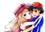1boy 1girl ashujou bangs baseball_cap black_hair black_shirt blue_eyes blue_jacket brown_eyes brown_hair couple eyebrows_visible_through_hair hair_between_eyes hat hug jacket long_hair looking_at_viewer low-tied_long_hair pokemon pokemon_(anime) pokemon_xy_(anime) print_headwear red_headwear satoshi_(pokemon) serena_(pokemon) shiny shiny_hair shirt short_sleeves simple_background sleeveless sleeveless_shirt swept_bangs twitter_username upper_body very_long_hair white_background