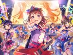 bang_dream! blush brown_hair dress hanazono_tae ichigaya_arisa poppin'party short_hair smile toyama_kasumi ushigome_rimi violet_eyes yamabuki_saaya