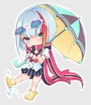 1girl admiral_graf_spee_(azur_lane) azur_lane bangs black_skirt black_umbrella blue-framed_eyewear blue_umbrella boots breasts chibi covered_mouth eyebrows_behind_hair eyewear_on_head flower gradient_hair green_eyes grey_background holding holding_umbrella looking_at_viewer multicolored_hair orange_hair osisio outline pleated_skirt red_scarf redhead rubber_boots scarf shirt shoe_soles short_sleeves sidelocks silver_hair skirt small_breasts solo standing standing_on_one_leg streaked_hair striped sunflower umbrella vertical-striped_skirt vertical_stripes water white_outline white_shirt yellow_footwear