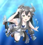 1girl black_hair blush eyebrows_visible_through_hair full_body green_eyes grey_neckwear hair_between_eyes hair_ornament highres i-47_(kantai_collection) kantai_collection long_hair looking_at_viewer neckerchief open_mouth sailor_collar school_swimsuit see-through_skirt skirt smile solo swimsuit swimsuit_under_clothes tk8d32 transparent_background underwater white_sailor_collar