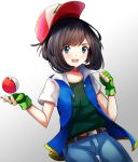 1girl :d ashujou baseball_cap belt blue_eyes blue_jacket blue_pants brown_belt brown_hair cosplay cowboy_shot fingerless_gloves gloves green_gloves green_shirt hat highres holding holding_poke_ball jacket long_hair mizuki_(pokemon) open_clothes open_jacket open_mouth pants poke_ball pokemon pokemon_(anime) pokemon_(game) pokemon_sm red_headwear satoshi_(pokemon) satoshi_(pokemon)_(cosplay) shiny shiny_hair shirt short_sleeves simple_background sleeveless sleeveless_jacket smile solo thigh_gap white_background white_sleeves
