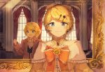 1boy 1girl aku_no_meshitsukai_(vocaloid) allen_avadonia amused androgynous backlighting blonde_hair blue_eyes blush bow brother_and_sister choker collarbone cosplay costume_switch cravat crossdressing curtains dress_bow dress_flower earrings evillious_nendaiki flower frame hair_bow hair_ornament hairclip half-closed_eyes highres jacket jewelry kagamine_len kagamine_rin looking_at_another mirror open_mouth orange_bow orange_jacket reflection riliane_lucifen_d'autriche rose short_ponytail siblings smile twins updo vocaloid window yellow_bow yellow_flower yellow_rose yonikki