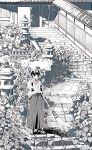 1girl broom crack greyscale highres holding holding_broom japanese_clothes kimono miko monochrome original outdoors plant scenery short_hair shrine solo stairs standing tobacco_(tabakokobata)