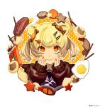 1girl animal_ears arknights blonde_hair cookie egg food food_themed_hair_ornament gummy_(arknights) hair_ornament hairclip hands_on_own_face orange_eyes orange_nails pocky polka_dot polka_dot_background rem_(hinotomi) sleeves_past_wrists steak twintails twitter_username