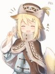 1girl :d ^_^ animal_ear_fluff animal_ears bangs blonde_hair blue_jacket blush brown_capelet brown_headwear capelet closed_eyes coreytaiyo dated eyebrows_visible_through_hair facing_viewer fang fur-trimmed_capelet fur-trimmed_sleeves fur_hat fur_trim grey_background hair_between_eyes hair_ornament hairclip hand_up hat highres jacket long_sleeves open_mouth original signature smile solo tail tail_raised translation_request upper_body v v-shaped_eyebrows