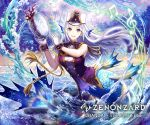 1girl :d aiguillette asatani_tomoyo band_uniform bare_shoulders beach breasts clouds cloudy_sky commentary_request copyright_name epaulettes fins floating floating_hair full_body gloves grey_eyes hands_up hat head_fins holding holding_instrument instrument large_breasts long_hair looking_at_viewer mermaid monster_girl music musical_note ocean official_art open_mouth outdoors palm_tree partially_submerged playing_instrument purple_shirt sand scales shako_cap shirt sidelocks silver_hair sky sleeveless sleeveless_shirt smile solo split_tail tambourine tree upper_teeth watermark waves white_gloves wrist_cuffs zenonzard
