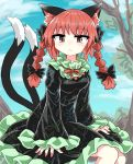 1girl animal_ears bangs bare_legs black_bow black_dress black_sleeves bow braid cat_ears cat_tail chups closed_mouth clouds dress extra_ears eyebrows_visible_through_hair frilled_dress frilled_sleeves frills green_frills highres kaenbyou_rin long_sleeves looking_at_viewer medium_hair multiple_tails outdoors red_eyes red_nails red_neckwear redhead sitting sky sleeves_past_wrists solo tail touhou tree twin_braids two_tails