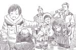 3boys 4girls alcohol beanie bottle brown_theme character_request closed_eyes coat dated dog_tags drinking drunk from_behind glasses hat horikou long_sleeves military military_jacket military_uniform monochrome multiple_boys multiple_girls peaked_cap real_life shima_rin short_hair signature smile soldier soviet soviet_union sweatdrop uniform yurucamp