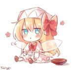 1girl artist_name bangs blonde_hair blue_eyes blush bow bowl bowtie brown_footwear capelet chibi dress eyebrows_visible_through_hair fairy_wings flower hair_between_eyes hat hat_bow highres lily_white long_hair long_sleeves looking_away open_mouth pudding_(skymint_028) red_bow red_neckwear sigh signature simple_background sitting solo touhou white_background white_capelet white_dress white_headwear white_sleeves wings