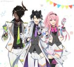 3boys :d alternate_hairstyle animal_ears anniversary aragami_ouga belt belt_buckle black_hair black_legwear bow bowtie buckle collaboration commentary_request confetti dark_skin dark_skinned_male dog_ears eyebrows_visible_through_hair eyepatch gloves green_eyes green_neckwear grin hair_between_eyes hair_over_one_eye hand_up happy holding holostars horns jacket kageyama_shien long_hair looking_at_viewer male_focus mudo_(saji) multicolored_hair multiple_boys necktie open_mouth otoko_no_ko pants pink_hair pink_neckwear pleated_skirt ponytail purple_neckwear sharp_teeth short_hair simple_background single_horn skirt smile streaked_hair teeth thigh-highs tsukishita_kaoru twitter_username very_long_hair violet_eyes virtual_youtuber white_background white_gloves white_hair white_jacket white_pants yaeyama_reishi yellow_neckwear