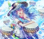 1girl apron bangs black_headwear blue_hair blue_skirt bow bowtie clouds dress_shirt eating eyebrows_visible_through_hair floating floating_hair floating_object food fruit green_sash hat here_(hr_rz_ggg) highres hinanawi_tenshi keystone leaf long_hair looking_at_viewer neck_ribbon peach puffy_short_sleeves puffy_sleeves rainbow_gradient rainbow_order red_bow red_eyes ribbon rope sash shimenawa shirt short_sleeves skirt sky stone touhou white_shirt