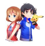 1boy 1girl ashujou bangs black_gloves black_hair blue_eyes blue_jacket blue_ribbon brown_hair closed_mouth cropped_torso eyebrows_visible_through_hair fingerless_gloves gen_1_pokemon gloves hair_between_eyes jacket neck_ribbon on_shoulder pikachu pokemon pokemon_(anime) pokemon_(creature) pokemon_on_shoulder pokemon_xy_(anime) ribbon satoshi_(pokemon) serena_(pokemon) shiny shiny_hair short_hair short_sleeves simple_background smile twitter_username white_background