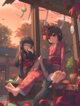 2girls absurdres barefoot bench black_hair black_kimono blindfold cat character_request chinese_commentary clouds commentary_request dusk feet floral_print flower full_body hand_to_own_mouth hibana_(vocaloid) highres japanese_clothes kafei_ji kimono long_hair mask mask_on_head multiple_girls noh_mask obi oni_mask outdoors red_eyes red_kimono sash short_hair siblings sisters sitting sky smile soles spider_lily toes