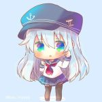 1girl :o anchor_symbol bangs black_footwear black_headwear black_legwear black_sailor_collar black_skirt blue_background blue_eyes blush chibi eyebrows_visible_through_hair flat_cap full_body green_eyes hair_between_eyes hat hibiki_(kantai_collection) kantai_collection kouu_hiyoyo long_hair long_sleeves looking_at_viewer lowres multicolored multicolored_eyes neckerchief parted_lips pleated_skirt red_neckwear sailor_collar school_uniform serafuku shirt shoes silver_hair skirt solo standing thigh-highs twitter_username very_long_hair white_shirt
