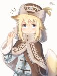 >:) 1girl animal_ear_fluff animal_ears bangs blonde_hair blue_eyes blue_jacket blush brown_capelet brown_headwear capelet closed_mouth commentary_request coreytaiyo dated eyebrows_visible_through_hair fur-trimmed_capelet fur-trimmed_sleeves fur_hat fur_trim grey_background hair_between_eyes hair_ornament hairclip hand_up hat highres jacket long_sleeves looking_at_viewer original signature smile solo tail tail_raised upper_body v v-shaped_eyebrows