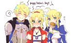 1boy 2girls ahoge armor arthur_pendragon_(fate) artoria_pendragon_(all) bandeau bangs blonde_hair blue_dress blush braid breastplate breasts closed_eyes closed_mouth coll_(erichankun) collarbone dress eating fate/apocrypha fate/prototype fate/stay_night fate_(series) food french_braid green_eyes hair_ornament hair_scrunchie hamburger jacket long_hair long_sleeves looking_at_viewer mordred_(fate) mordred_(fate)_(all) multiple_girls musical_note open_clothes open_jacket open_mouth pauldrons ponytail red_jacket red_scrunchie saber scrunchie short_hair shoulder_armor small_breasts smile