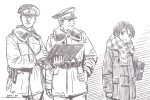 1girl 2boys bag brown_theme character_request closed_mouth coat dated hat horikou military military_jacket military_uniform monochrome multiple_boys parted_lips peaked_cap real_life scarf shoulder_bag signature smile soldier soviet soviet_union uniform yurucamp