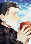 1boy absurdres albino_(a1b1n0623) alternate_costume bangs black_hair black_suit blush clouds cloudy_sky cup fate/grand_order fate_(series) from_side green_eyes hair_slicked_back highres holding holding_cup huge_filesize long_sleeves looking_to_the_side male_focus mug open_mouth parted_bangs sherlock_holmes_(fate/grand_order) shiny shiny_hair sky solo steam upper_body