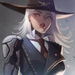 1girl ashe_(overwatch) cowboy_hat hat highres lipstick looking_down makeup medium_hair mole necktie overwatch prosthesis prosthetic_arm red_eyes red_lipstick red_neckwear solo white_hair zoner