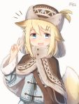 1girl :d animal_ear_fluff animal_ears bangs blonde_hair blue_eyes blue_jacket blush brown_capelet brown_headwear capelet coreytaiyo dated eyebrows_visible_through_hair fur-trimmed_capelet fur-trimmed_sleeves fur_hat fur_trim grey_background hair_between_eyes hair_ornament hairclip hand_up hat highres jacket long_sleeves looking_at_viewer open_mouth original signature smile solo tail tail_raised upper_body v v-shaped_eyebrows
