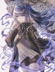 1girl apraxia arknights blue_eyes blue_hair fur-trimmed_jacket fur_trim gloves halo highres horns jacket long_hair mismatched_gloves mostima_(arknights) smile staff