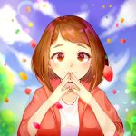1girl blue_background blurry blurry_background blush boku_no_hero_academia brown_eyes brown_hair collarbone commentary_request fingers_together highres hood hooded_jacket jacket leaf looking_at_viewer pink_nails red_jacket shirt short_hair silvee smile solo upper_body uraraka_ochako white_shirt
