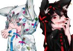 2girls absurdres animal_ears ao_no_kitsune black_hair blood blood_on_face bloody_hands blue_eyes bluefox021228 dual_persona ear_piercing earrings ears_through_headwear fox_ears fox_girl hand_on_own_face highres hololive hood hoodie huge_filesize jewelry kurokami_fubuki multiple_girls open_mouth piercing red_eyes ringed_eyes shark sharp_teeth shirakami_fubuki simple_background smile teeth upper_body virtual_youtuber white_background white_hair