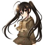 1girl alastor_(shakugan_no_shana) alternate_hairstyle bangs bow bowtie brown_bow brown_eyes brown_neckwear collared_shirt cowboy_shot eyebrows_visible_through_hair green_sailor_collar green_serafuku green_shirt green_skirt hair_between_eyes highres jewelry long_sleeves looking_at_viewer miniskirt necklace sailor_collar sailor_shirt shakugan_no_shana shana shiny shiny_hair shirt simple_background skirt solo standing tachitsu_teto twintails white_background