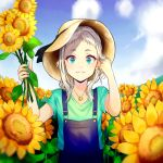 1boy :3 bangs black_ribbon blend_s blue_sky clouds cloudy_sky commentary_request day field flower flower_field green_eyes green_shirt hand_in_hair hat hat_ribbon highres holding holding_flower jewelry kanzaki_hideri long_hair looking_at_viewer medium_hair necklace otoko_no_ko outdoors overalls ribbon shirt silvee silver_hair sky smile solo sun_hat sunflower yellow_flower