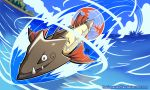 absurdres barraskewda blue_sky clouds cloudy_sky commentary deviantart_username english_commentary fangs fish gen_8_pokemon harlequinwaffles highres jumping no_humans ocean outdoors pokemon pokemon_(creature) signature sky smile speed_lines tree water watermark web_address