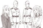 2boys 2girls :d belt brown_theme closed_eyes closed_mouth crossover dated eye_contact horikou inuyama_aoi jacket k-on! kotobuki_tsumugi long_sleeves looking_at_another military military_jacket military_uniform monochrome multiple_boys multiple_girls one_side_up open_mouth real_life school_uniform serafuku signature simple_background smile soldier soviet_union sweater thick_eyebrows uniform white_background yurucamp