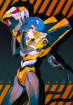 1girl absurdres ayanami_rei blue_hair cable copyright_name cosplay eva_00 eva_00_(cosplay) grandia_lee helmet highres holding holding_helmet looking_at_viewer looking_to_the_side neon_genesis_evangelion red_eyes short_hair solo