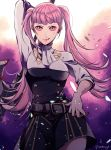 1girl arm_up ataka_takeru axe belt blood closed_mouth fire_emblem fire_emblem:_three_houses garreg_mach_monastery_uniform hilda_valentine_goneril holding holding_axe licking_lips long_hair nosebleed pink_eyes pink_hair solo tongue tongue_out twintails twitter_username uniform