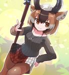1girl alternate_costume animal_ears bangs baniran_dorosu black_horns black_sweater brown_eyes brown_hair brown_legwear casual closed_mouth contemporary dutch_angle grey_hair hair_between_eyes hand_on_hip hand_up highres holding holding_weapon horizontal_pupils horns jewelry kemono_friends long_sleeves looking_at_viewer medium_hair miniskirt multicolored multicolored_clothes multicolored_hair multicolored_skirt pantyhose parted_bangs pendant plaid plaid_skirt polearm pronghorn_(kemono_friends) skirt smile solo sweater weapon white_hair