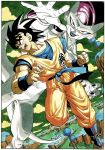 2boys angry black_hair blue_footwear boots border clenched_hand clothes_writing clouds cloudy_sky collarbone commentary dark_skin dark_skinned_male day dougi dragon_ball dragon_ball_z dutch_angle evil_smile fighting_stance fingernails frieza frown full_body grass green_sky highres island lake looking_at_viewer looking_to_the_side male_focus messy_hair multiple_boys muscle official_art open_mouth outdoors outstretched_hand red_eyes screaming shiny shiny_hair shiny_skin sky smile son_gokuu spiky_hair teeth toriyama_akira tree v-shaped_eyebrows water white_border