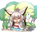 1girl ^_^ absurdly_long_hair animal_ear_fluff animal_ears bangs blush chibi closed_eyes collarbone commentary_request eyebrows_visible_through_hair facing_viewer fox_ears fox_girl fox_tail grey_hair hair_between_eyes high_ponytail highres japanese_clothes kimono long_hair long_sleeves obi open_mouth original ponytail sash simple_background sitting soaking_feet solo sweat tail translation_request tree very_long_hair water white_background white_kimono wide_sleeves yuuji_(yukimimi)
