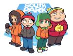 4boys black_hair blonde_hair blush brown_hair closed_mouth coat copyright_name english_commentary eric_cartman gloves green_eyes grin hands_in_pockets hat highres hood hood_up interlocked_fingers kenny_mccormick kyle_broflovski long_sleeves male_focus mittens multiple_boys open_mouth orange_hair pants pocket rariatto_(ganguri) simple_background smile south_park stan_marsh standing twitter_username
